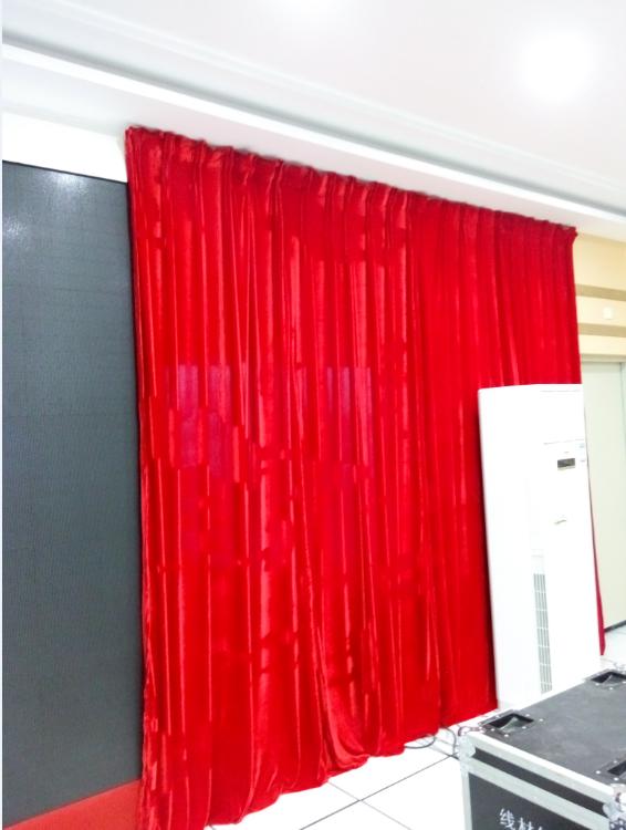 深圳红色幕布定做|金丝绒布窗帘|舞台幕布上门安装