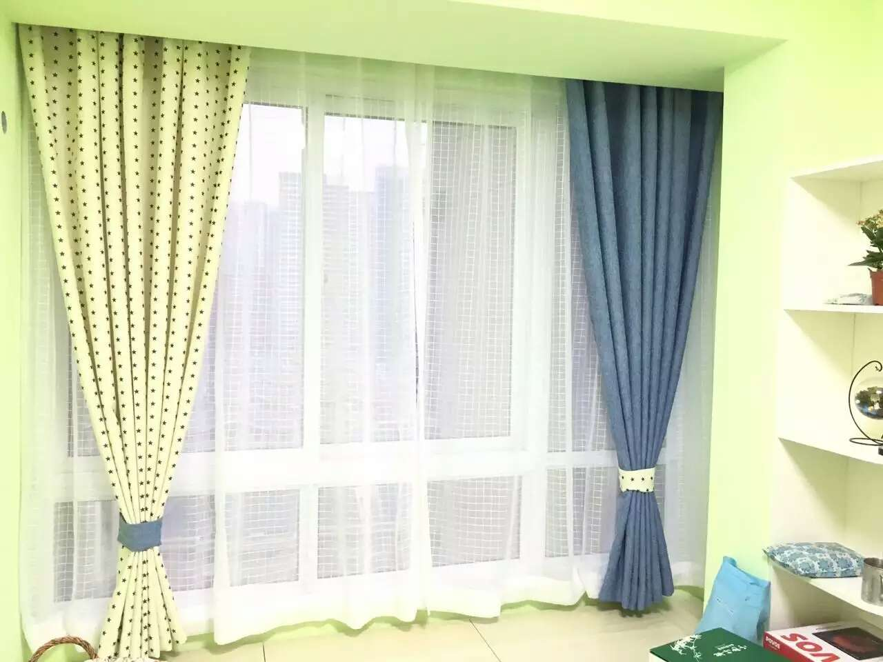 深云村窗帘定做 铝合金窗帘轨道上门安装