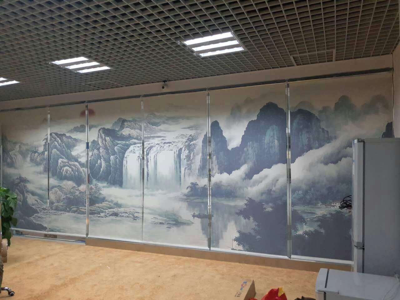 平湖华南城山水画卷帘定制